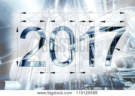 Card Of New Year 2017 As Blueprint Drawing Combined With Picture Of Equpment