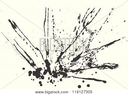 Splatter Black Ink Background.