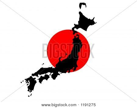 Kaart van Japan en Japanse vlag