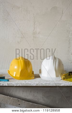 Safety hardhats.