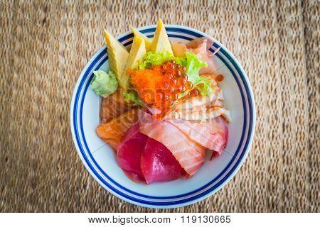 Tekka donburi japanese fresh raw food with rice