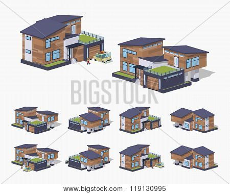 Contemporary american house. 3D lowpoly isometric vector illustration. The set of objects isolated against the white background and shown from different sides poster