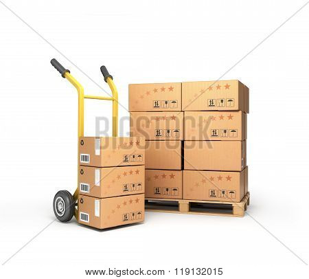 Boxes Lie On A Pallet Near The Handcart Isolated On White Background