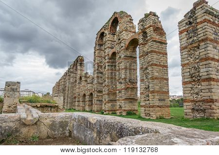 Perspective of aqueduct of the Miracles in Merida, Spain, UNESCO