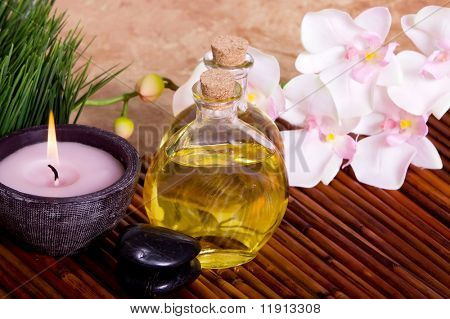 Body care items on bamboo mat