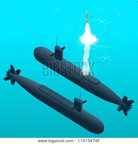 Nuclear submarine traveling underwater.Nuclear-powered submarines. Flat 3d isometric vector illustra