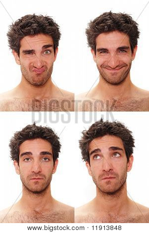 Young man with multiple face expressions poster