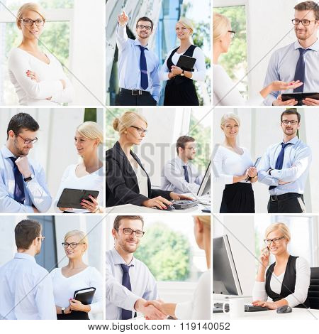 Set of photos with two business partners in different situations.