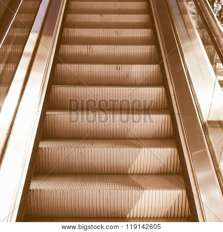 Detail of an escalator ramp of stairs vintage poster
