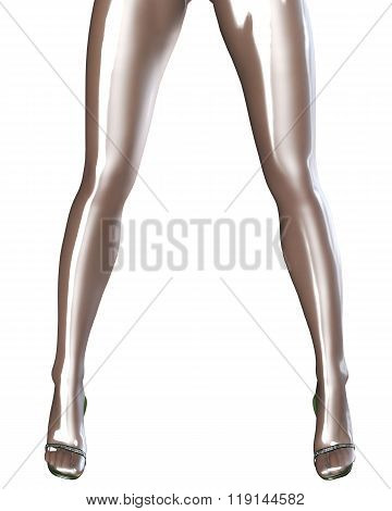Sexy slim female legs in latex stockings. Conceptual fashion art. Shiny bright pantyhose. Seductive sensual pose. 3D render. poster