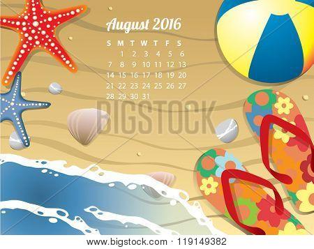 Beach Calendar for August 2016
