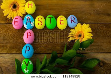 Easter Eggs And Daisy