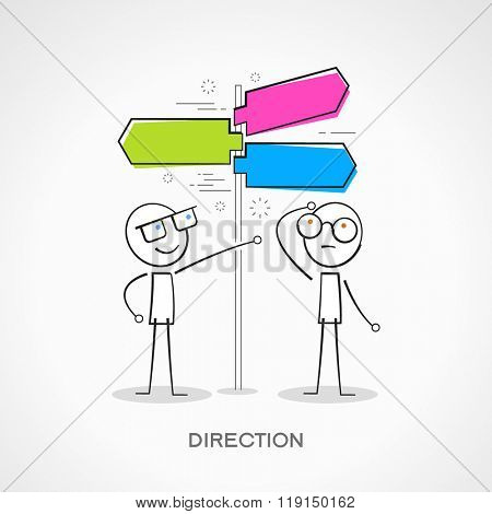 Stickmans with signpost. Doodle vector illustration.  The file is saved in the version 10 EPS.