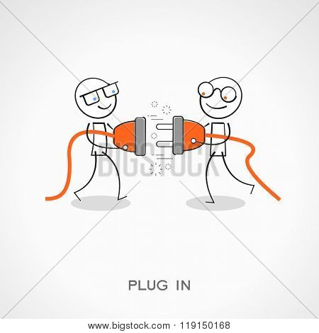 Stickman with plug and socket. Doodle vector illustration. Plug in concept. The file is saved in the version 10 EPS.
