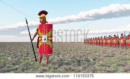 Roman centurion and legionaries