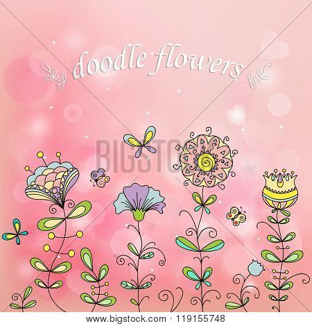 Simple Flowers On A Beautiful Pink Background