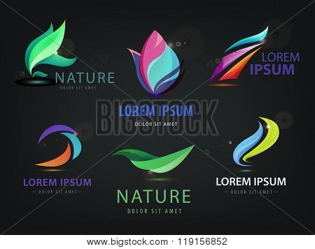 Vector set of abstract wavy, spa, salon, nature logos, icons isolated on dark background