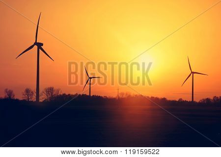 Windmills And Sunset.