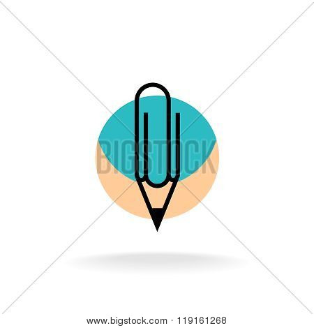 Pencil And Paperclip Symbol Cleric Office Logo