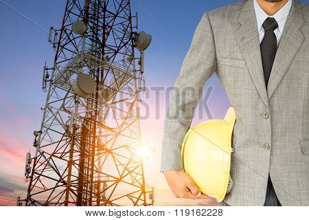 Engineering And Satellite Dish Telecom Network At Sunset Communi