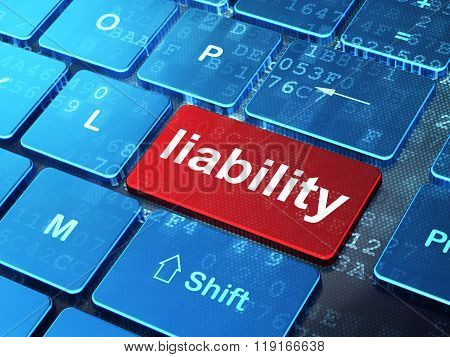 Insurance concept: Liability on computer keyboard background