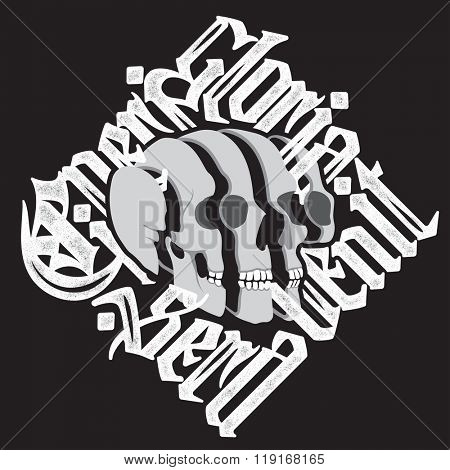 Sliced Skull with latin gothic lettering - Cineri gloria sera venit - Fame to the dead comes too late. Vector calligraphic t-shirt design on black background