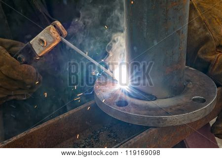 Flat Welding Flange To The Pipe Steel