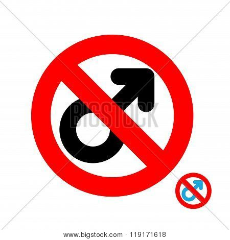 Stop Men. It Is Forbidden To Be Man. Frozen Male Character. Emblem Against Male Gender. Red Forbiddi