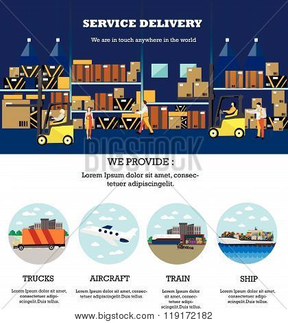 Logistic and delivery service concept banner. Warehouse interior poster. Vector illustration in flat