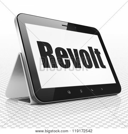 Political concept: Tablet Computer with Revolt on display