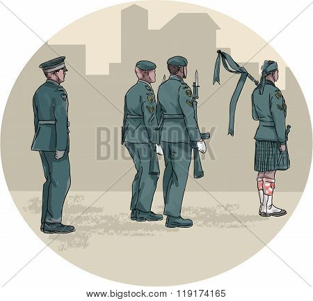 Soldier Bagpiper Marching Circle Watercolor