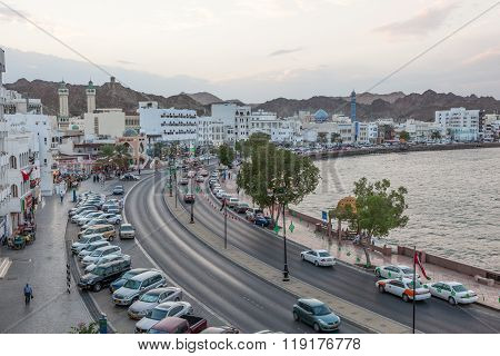 Corniche In Muttrah At Dusk, Muscat, Oman