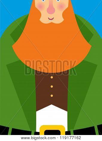 Good Leprechaun In Green Frock Coat. Big Red Beard. The Cheerful Leprechaun In Brown Waistcoat. Illu