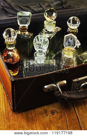 Vintage Perfume In The Suitcase