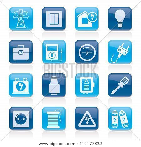 Power, energy and electricity icons - vector icon set poster