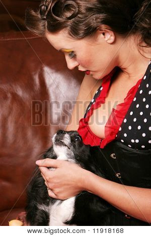 Pinup girl with her puppy poster
