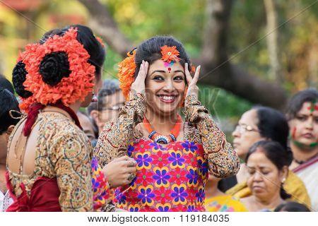 Young Girl Dancer Joyful Expression At Holi (spring) Festival In Kolkata.