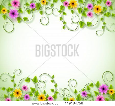 Vines Background for Spring Season with Realistic Colorful Flowers and Leaves