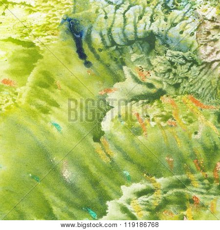 Abstract Green Watercolor Colorful Texture Background.