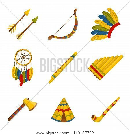 Set of cartoon icons on native american theme. Native american concept for your design