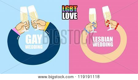 Lgbt Love. Lgbt Wedding. Character Set For Wedding Of Gays And Lesbians. Mens Hands To Drink Champag