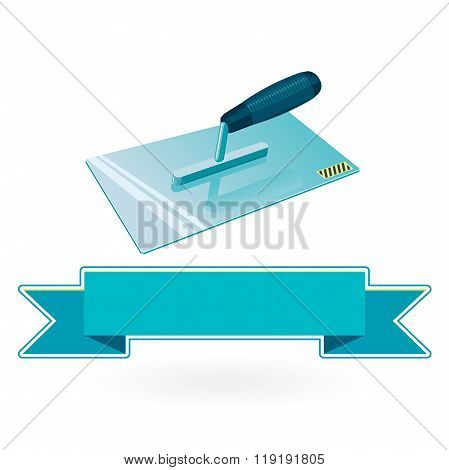 Blue nice classical pointed stucco trowel on white background.