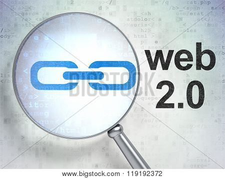 Web development concept: Link and Web 2.0 with optical glass