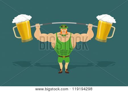 Leprechaun Is Strong. Powerful Leprechaun And Barbell With Mugs Of Beer. Irish Athlete Keeps Big Pin