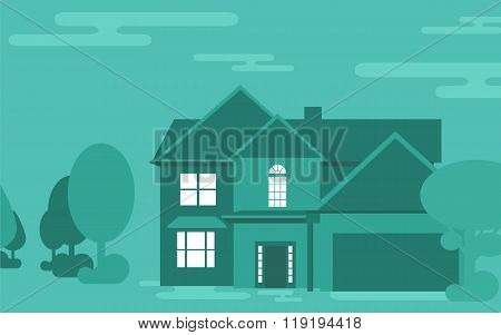 Family house building vector illustration.
