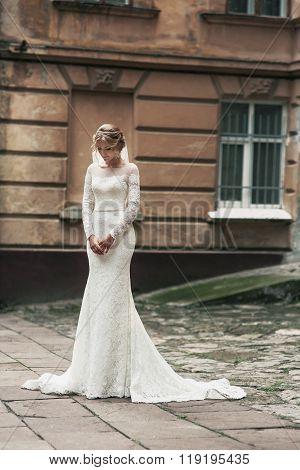 Beautful Sensual Bride In Vintage Dress Posing In Street