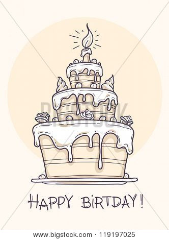 Greeting card with big birthday cake contour drawing. Vector illustration. Transparent objects used for lights and shadows drawing
