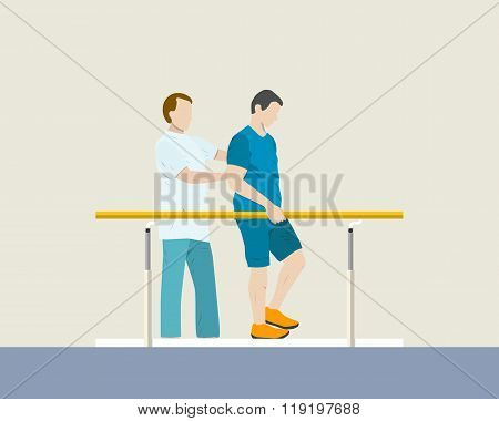 The doctor helps a patient in the hospital room rehabilitation. Vector illustration