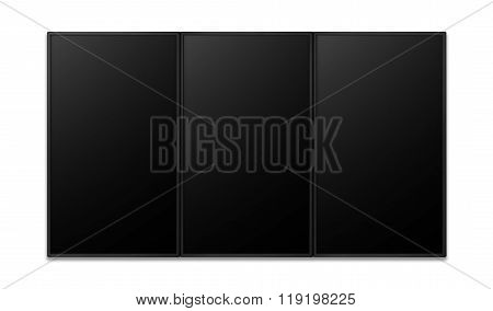 Vertical Flat Screen Of Promotion Display Black Combine