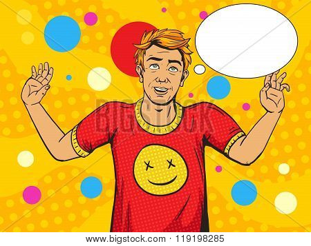 Man on drugs pop art style vector